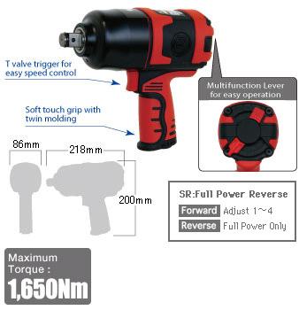 """3/4"""" Impact Wrench SI-1550SR, Shinano Air Tools"""