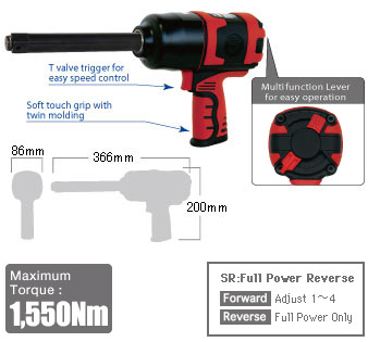"""3/4"""" Impact Wrench SI-1556SR, Shinano Air Tools"""
