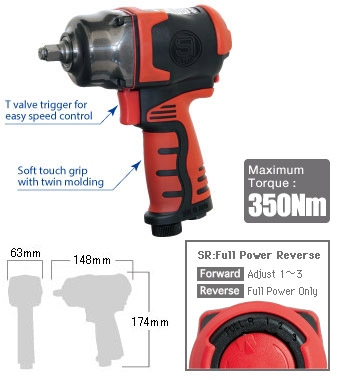 "3/8"" Impact Wrench SI-1605SR, Shinano Air Tools"