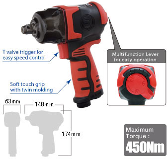 "1/2"" Impact Wrench SI-1610, Shinano Air Tools"
